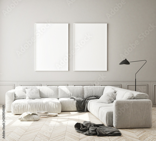 Recess Fitting Equestrian mock up poster frame in modern interior background, living room, Scandinavian style, 3D render, 3D illustration