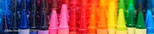 Fotografie, Obraz Box of crayons in a rainbow of colors background