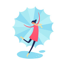 Vector Character Autumn Illustration. Flat Happy Female In Red Coat With Scarf And Umbrella Dancing In Rain Isolated On White Background. Design Element For Poster, Promotion, Card, Media, Layout