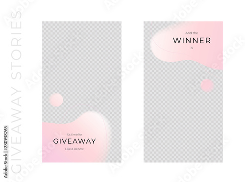 Poster Retro sign Vector abstract giveaways post template set. Pink color romantic style fluid shapes. Giveaway and winner frame. Design for social media blog advertising, promotion, announcement, freebies, message.