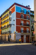 Colorful typical buildings in Pamplona old town, Navarre, Spain