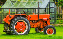 Closeup Of A Red Tractor At Th...