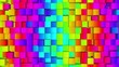 Loop of rainbow of colorful moving cubes - 3d render