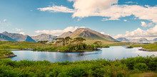 Derryclare Lough, Twelve Pines Landscape, Panorama Image, Sunny Warm Day, Cloudy Sky, County Galway Ireland.