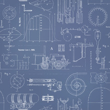 Seamlessly Tiling Vector Steampunk Pattern With Various Graphs, Charts And Construction Drawings For Machinery And Dirigibles As A Vintage/retro Blueprint