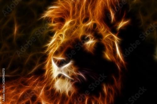 Fototapeta Lion in inferno