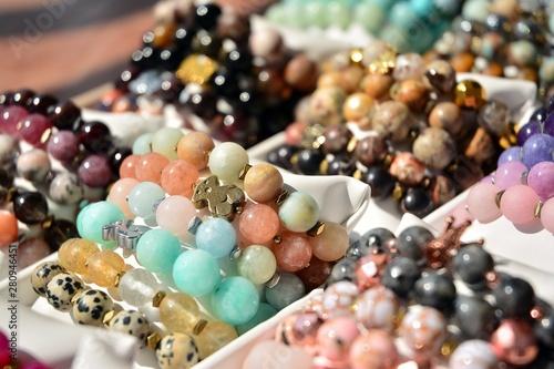 Leinwand Poster Women's colorful stone bracelets handmade