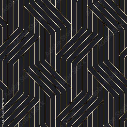 Türaufkleber Künstlich Seamless black and gold ornate complex art deco rounded lines pattern vector