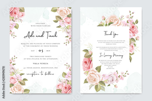 Fototapeta Wedding Invitation Card With Floral And Leaves Background Template