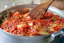 Domestic Cooking Stuffed Pepper And Cabbage Rolls. Selective Focus. Ukrainian And Russian Traditional Food.