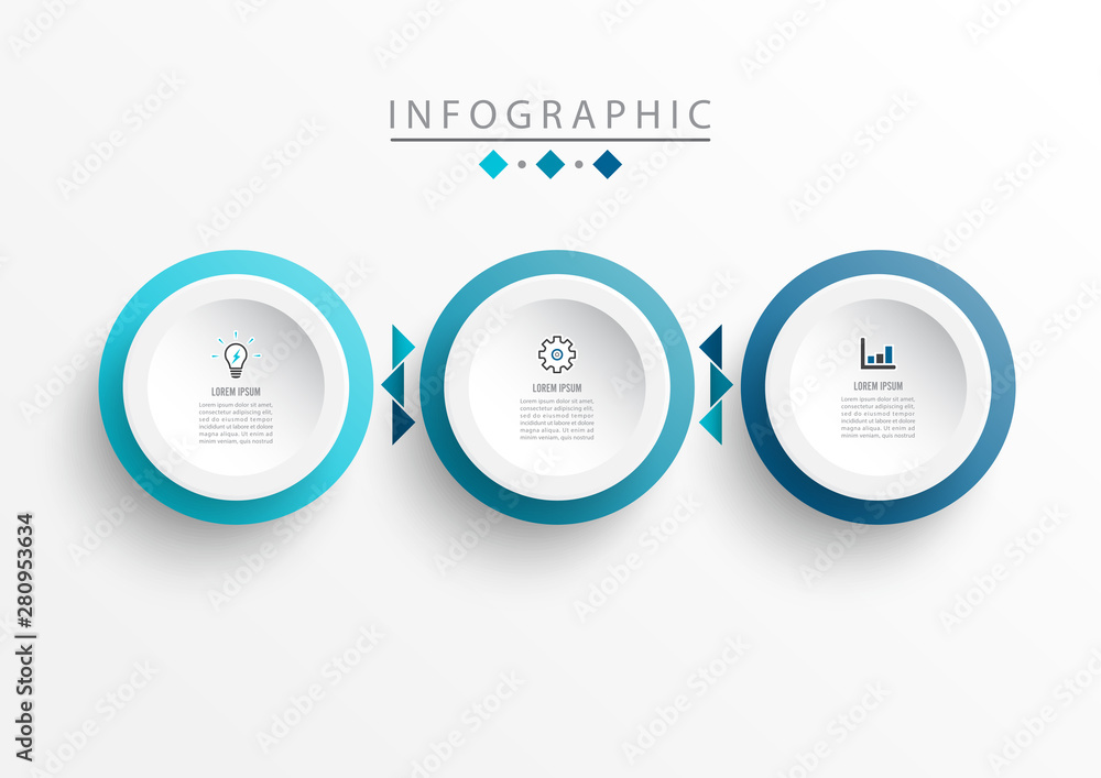 Fototapeta Vector Infographic label design template with icons and 3 options or steps. Can be used for process diagram, presentations, workflow layout, banner, flow chart, timeline infographics, chart.