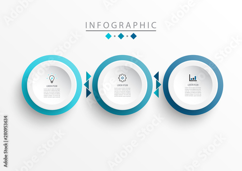 Obraz Vector Infographic label design template with icons and 3 options or steps. Can be used for process diagram, presentations, workflow layout, banner, flow chart, timeline infographics, chart. - fototapety do salonu