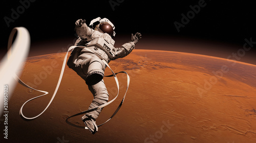 Fotografía  astronaut performing a space walk in orbit of planet Mars