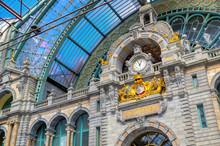 The Interior Of The Antwerp (Antwerpen), Belgium Railway Station.