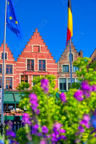 Wall Murals Bridges The historical city center and Market Square (Markt) in Bruges (Brugge), Belgium.