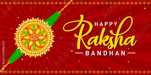Valokuva  Happy Raksha Bandhan Concept, Logo, Greetings, Design, Template, Banner, Icon, Poster, Unit, Label, Web Header, Mnemonic on Red festive rays background