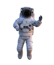 Astronaut Waving During Space Walk, Isolated On White Background