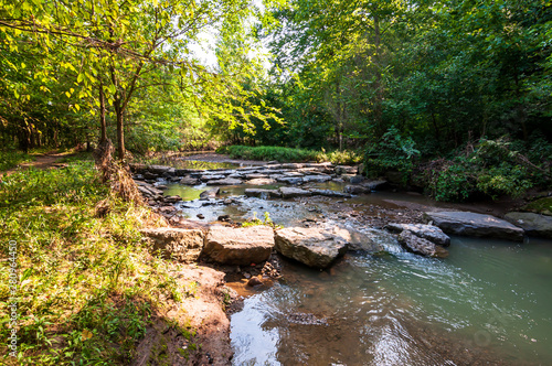 Canvas Print Nine Mile Run, a stream in Frick Park, Pittsburgh, Pennsylvania, USA which runs
