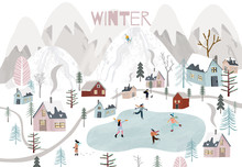 Winter Background With Childre...