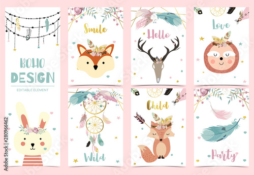 Collection of boho cards set with feather,dreamcatcher,fox,sloth,rabbit Canvas Print