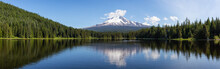 Beautiful Panoramic Landscape View Of A Lake With Mt Hood In The Background During A Sunny Summer Day. Taken From Trillium Lake, Mt. Hood National Forest, Oregon, United States Of America.