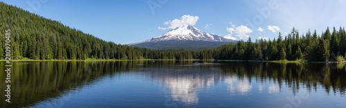 Fototapeta Beautiful Panoramic Landscape View of a Lake with Mt Hood in the background during a sunny summer day. Taken from Trillium Lake, Mt. Hood National Forest, Oregon, United States of America. obraz