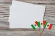 September 16. Independence day Mexico, the concept of independence , patriotism and freedom. Mini paper flags with white postcards on wooden background