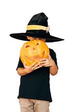 Happy Child In Halloween Costume Holding Jack O Lantern Pumpkin Isolated On White