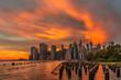Colourful sunset at Brooklyn Bridge Park.