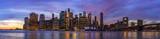 Fototapeta Nowy Jork - Colourful sunset at Brooklyn Bridge Park.