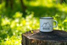 White Enamel Cup With Mountain...