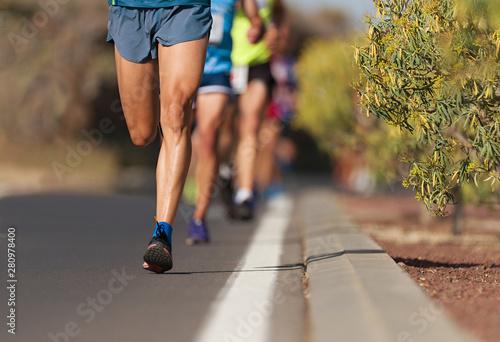 Papiers peints Nature Marathon running race, people feet on city road