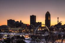 Des Moines Skyline Accros Froz...