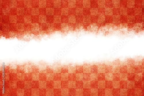Pinturas sobre lienzo  和紙 紅白 市松模様 抽象 正月 背景