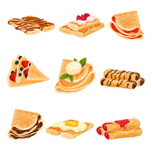 Set Of Pancakes In The Form Of A Roll And A Triangle. Vector Illustration On White Background.