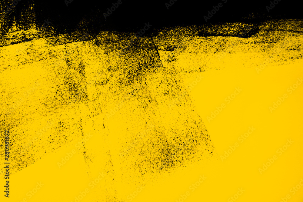Fototapety, obrazy: yellow and black paint  background texture with brush strokes
