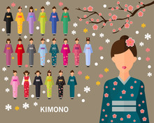 Japan Traditional Costume In Kimono Consept Background. Flat Icons.