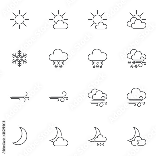 Forecast weather line icons set  linear style symbols