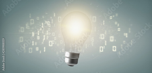 Obraz Bulb lamp idea concept with data all around 3d rendering - fototapety do salonu