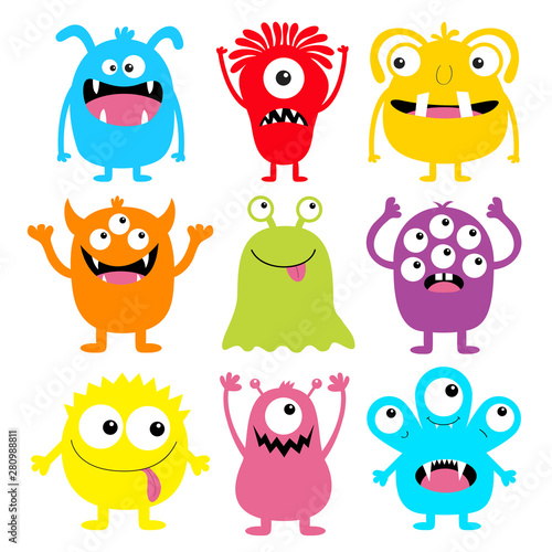 Monster colorful round silhouette icon set. Eyes, tongue, tooth fang, hands up. Cute cartoon kawaii scary funny baby character. Happy Halloween. White background. Flat design.
