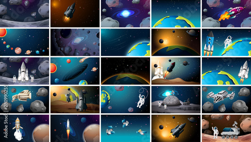 Canvas Prints Kids Large set of different space scenes