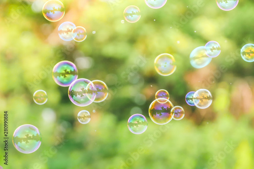 Recess Fitting India soap bubbles on green nature background