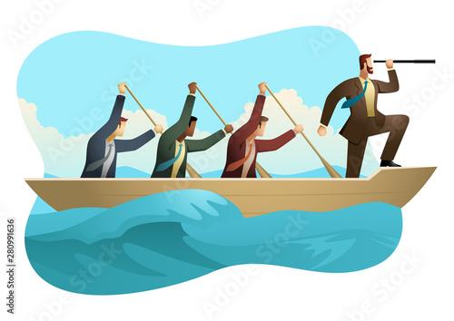 Valokuvatapetti Businessmen rowing a boat on unfriendly water