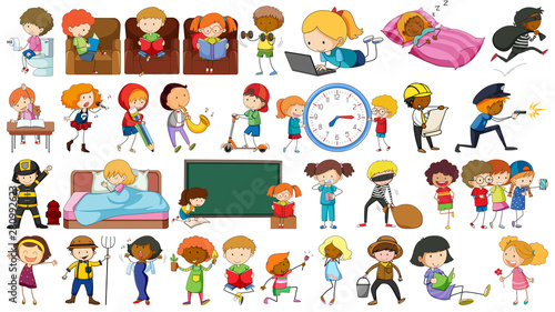 Stickers pour portes Jeunes enfants Set of simple people