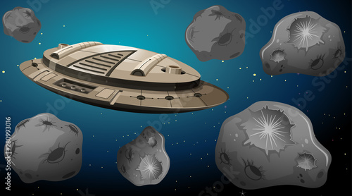 Space ship in asteroids scene