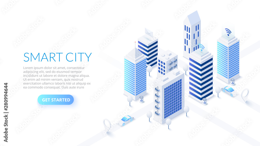 Fototapeta Isometric smart city illustration. Business center with skyscrapers and intelligent buildings. Streets of the city connected to computer network. Internet of things concept.