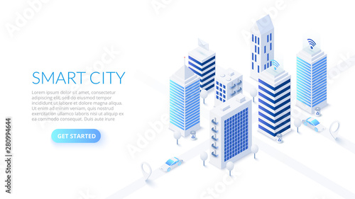 Obraz na plátne Isometric smart city illustration