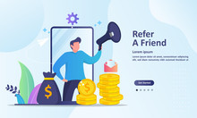Refer A Friend Concept Design, People Share Info About Referral And Earn Money. Suitable For Web Landing Page, Ui, Mobile App, Banner Template. Vector Illustration