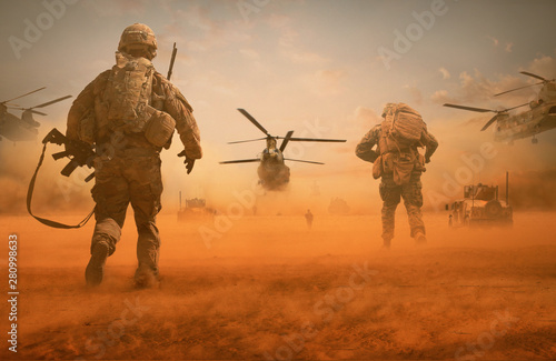 Foto op Plexiglas Helicopter Military troops and helicopter on the way to the battlefield / Between sand storm in desert
