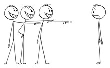 Vector Cartoon Stick Figure Drawing Conceptual Illustration Of Shocked Man Or Businessman Who Made Some Mistake And Now Is Object Or Mockery Or Ridicule.